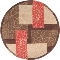 Hand-tufted Retro Chic Brown Floral Squares Area Rug - 8' x 8'