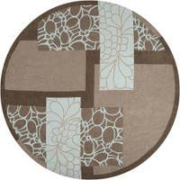 Hand-tufted Retro Chic Grey Floral Squares Area Rug - 8' x 8'