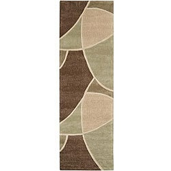 Hand-tufted Contemporary Retro Chic Green Brown/Green Abstract Rug (2'6 x 8')