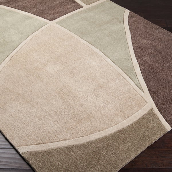 Hand-tufted Contemporary Retro Chic Green Brown/Green Abstract Area Rug (3'6 x 5'6) - 3'6 x 5'6