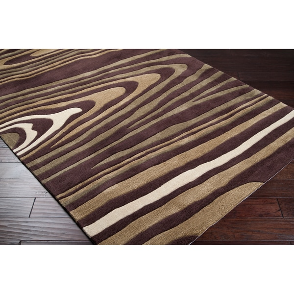 Hand-tufted Contemporary Brown Striped Retro Chic Green Abstract Rug (3'6 x 5'6)