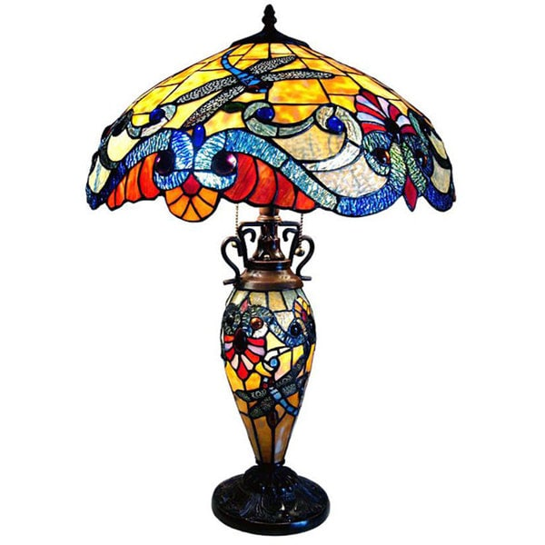 Chloe Tiffany Style Dragonfly Double Lit 2+1-light Bronze Table Lamp