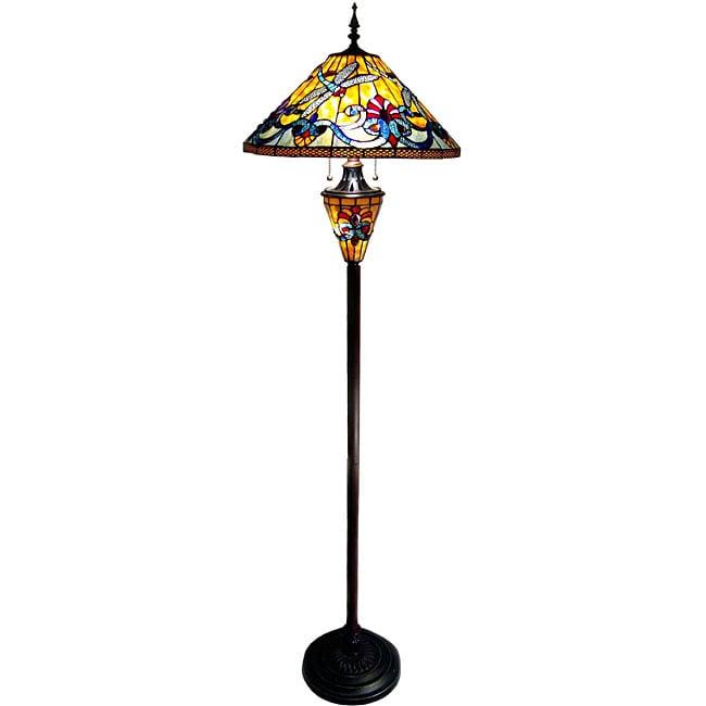 Tiffany-style Dragonfly Double Lit Bronze Finish Floor Lamp