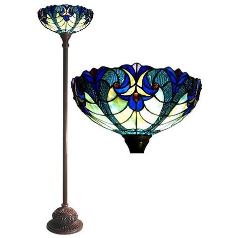 Tiffany-style Victorian Torchiere Bronze Finish Floor Lamp