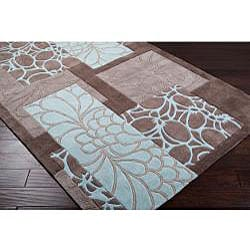 Hand-tufted Retro Chic Grey Floral Squares Rug (2'6 x 8') - Thumbnail 1