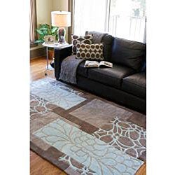 Hand-tufted Retro Chic Grey Floral Squares Rug (2'6 x 8') - Thumbnail 2