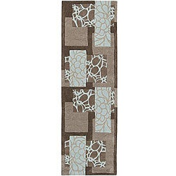 Hand-tufted Retro Chic Grey Floral Squares Area Rug (2'6 x 8') - Thumbnail 0