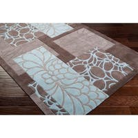 Hand-tufted Retro Chic Grey Floral Squares Area Rug - 2'6 x 8'