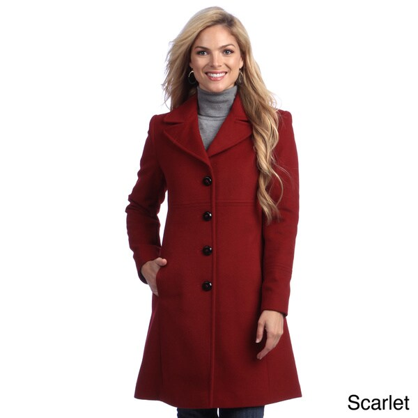 Larry Levine Petite Notch Collar Classic Wool Coat