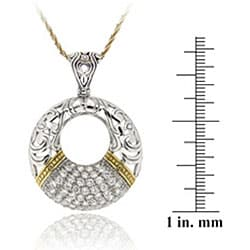 Icz Stonez Gold over Silver Cubic Zirconia Open Circle Necklace