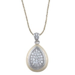 Icz Stonez Gold over Silver Cubic Zirconia Teardrop Necklace