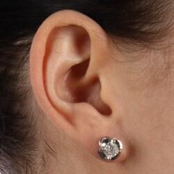 14k White Gold 2ct TDW Diamond Crown Earrings (H-I, I2-I3) - Thumbnail 2