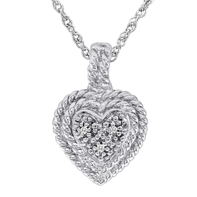 838ae1abcbaf5 Sterling Silver Diamond Accent Rope Heart Fashion Necklace