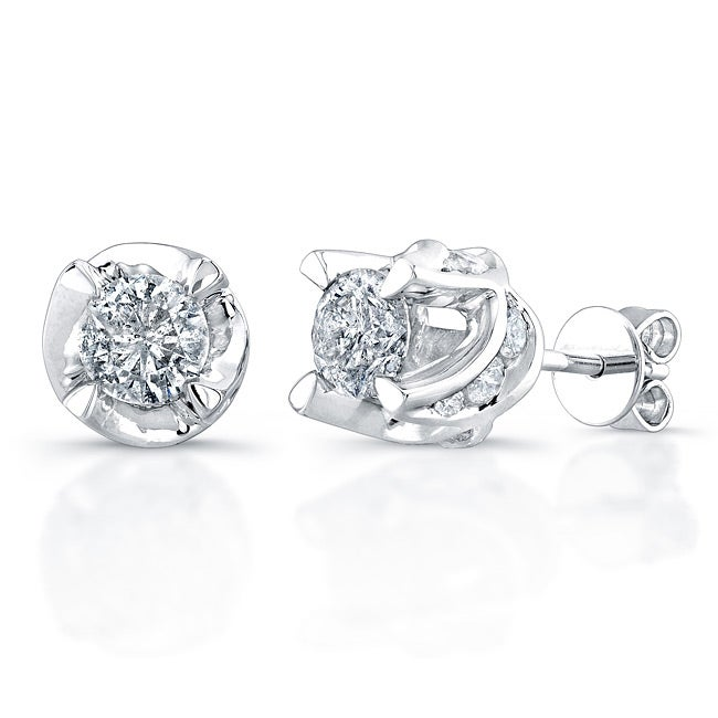 Victoria Kay 14k White Gold 1 1 2ct TDW Diamond Crown Earrings