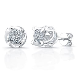 Victoria Kay 14k White Gold 1 1/2ct TDW Diamond Crown Earrings