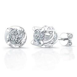 Victoria Kay 14k White Gold 1 1/2ct TDW Diamond Crown Earrings