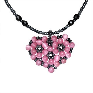 Pink Bead-woven Sweet Heart Necklace
