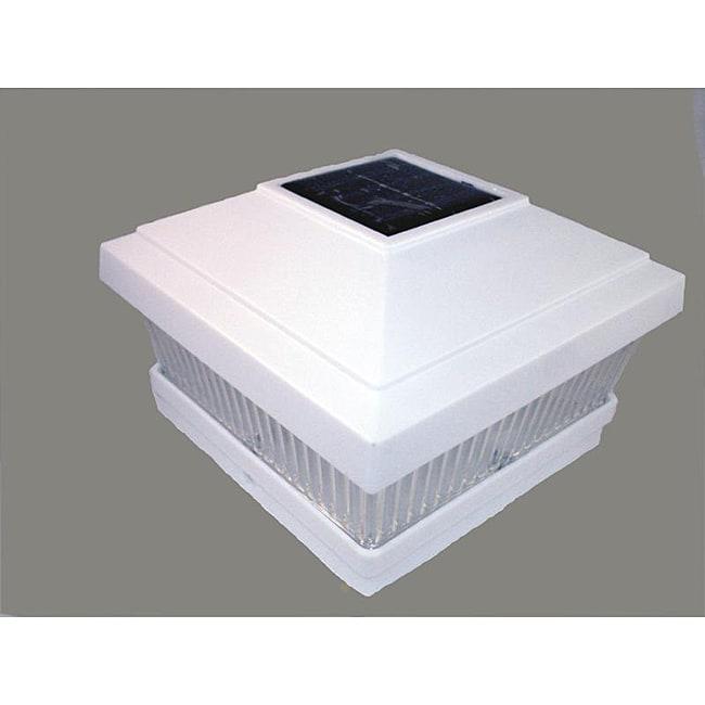 White Square Solar Fence-mount Post Light