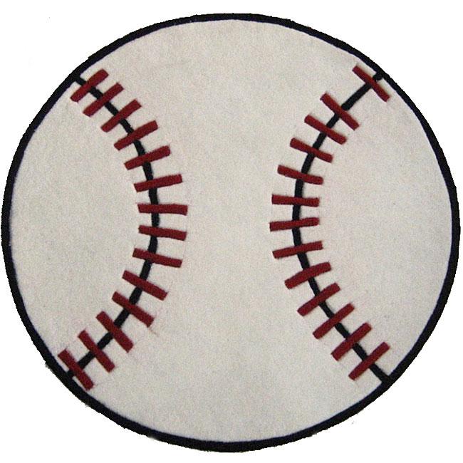 Hand-tufted Baseball-shaped Rug (3' Round)
