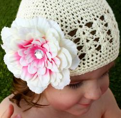 Headbandz Crocheted Baby and Toddler Cream Kufi Hat with Flower