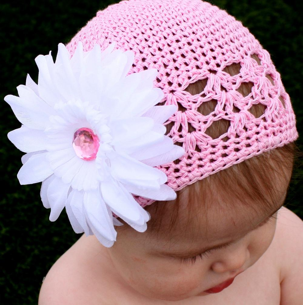 Headbandz Crocheted Cotton Baby and Toddler Pink/White Kufi Hat with Flower