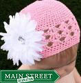 Headbandz Crocheted Baby and Toddler Pink/ White Kufi Hat with Flower