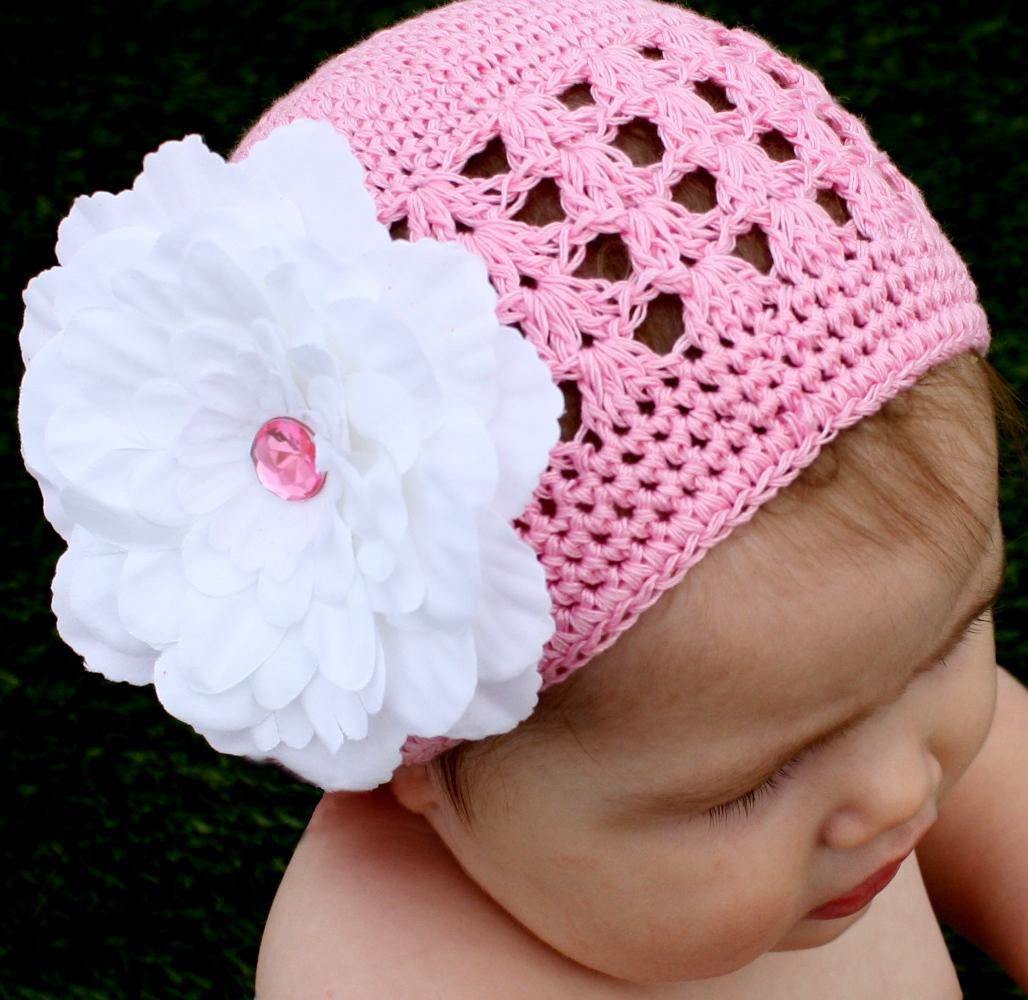 """Headbandz Crocheted Baby and Toddler Pink/White Kufi Hat with 4.25"""" Flower"""