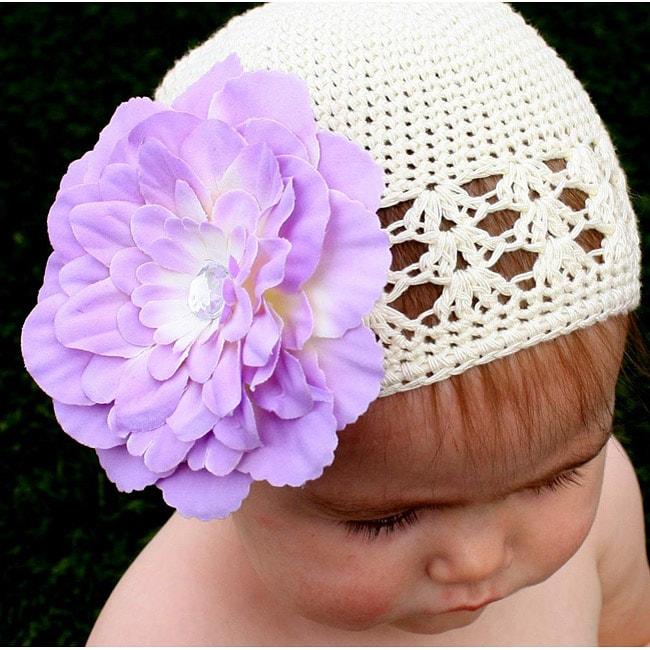 Headbandz Crocheted Baby and Toddler Cream/ Lavender Kufi Hat/ Flower