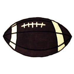 Hand-tufted Football-shaped Rug (2'4 x 4')