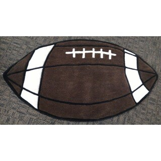 "Hand-tufted Football-shaped Rug - 2'4"" x 4'"