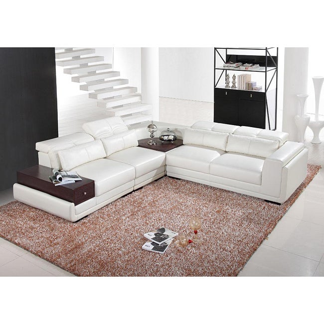 Italia Designs White Leather Sectional Sofa