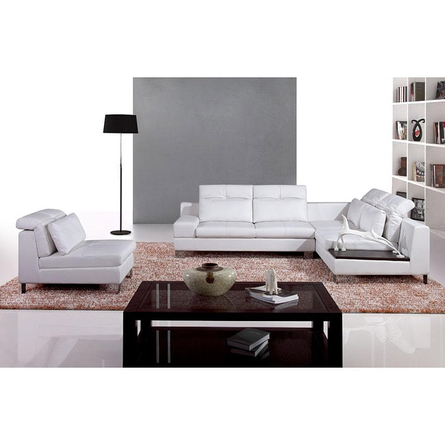 Italia Designs Ivory Leather Sectional Sofa