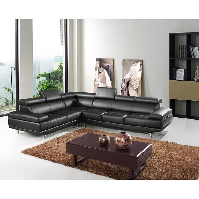 Italia Designs Oshkosh Black Leather Sectional Sofa Free