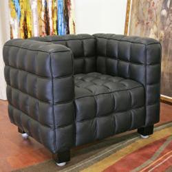 Arriga Modern Black Leather Chair - Thumbnail 1