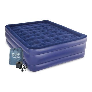 Pure Comfort Queen Size Raised Air Mattress - Blue