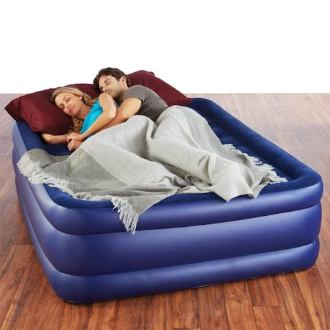 Pure Comfort Queen Size Raised Air Mattress with Electric Pump - Blue