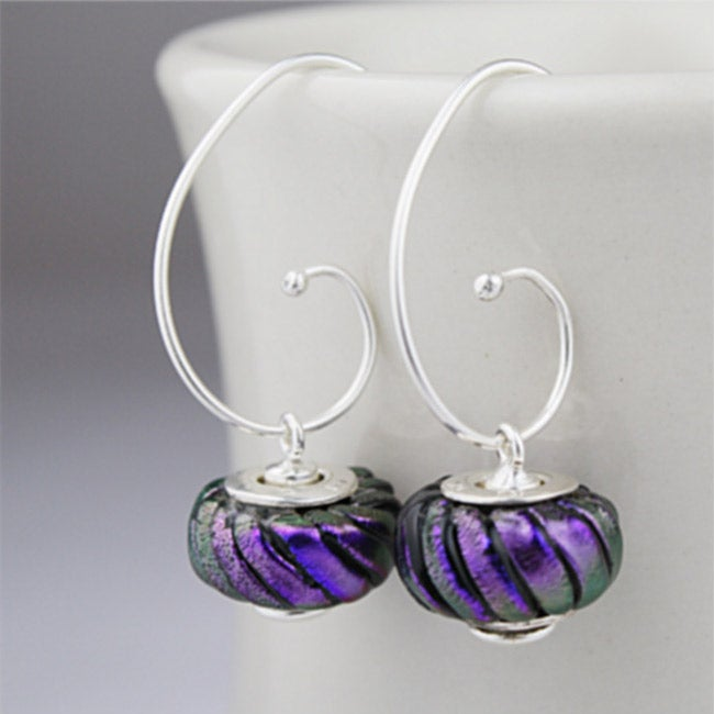 Sterling Silver Purple and Black Striped Bead Earrings (Mexico)