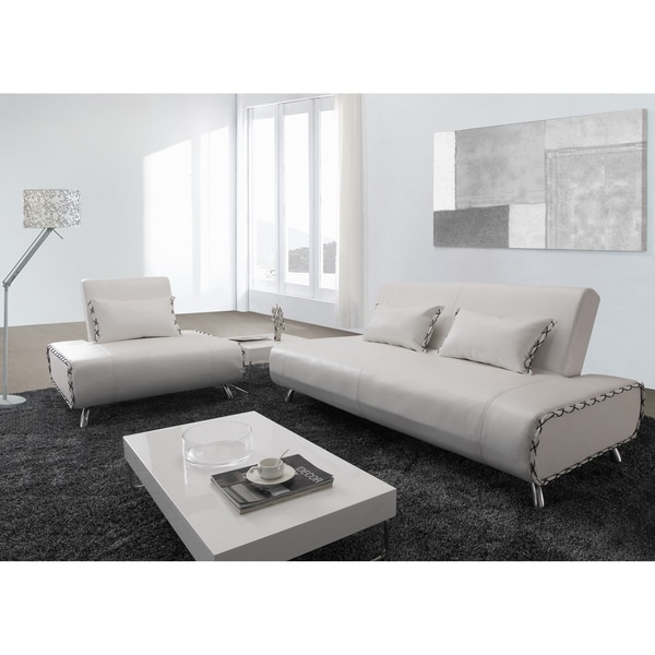 Furniture of America Lucas 2-piece White Bicast Leather Sofa/ Sofabed and Chair Set