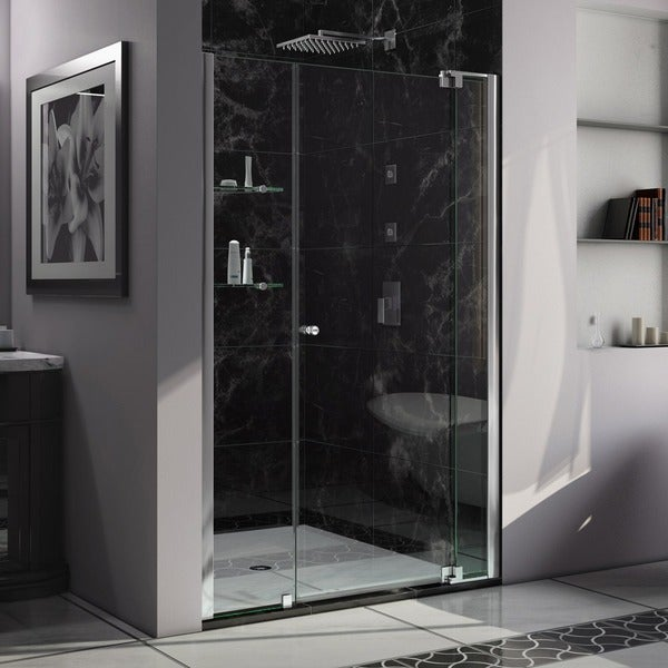 DreamLine Allure 48 to 49-inch wide x 73-inch high Frameless Pivot Clear Glass Shower Door in Chrome Finish