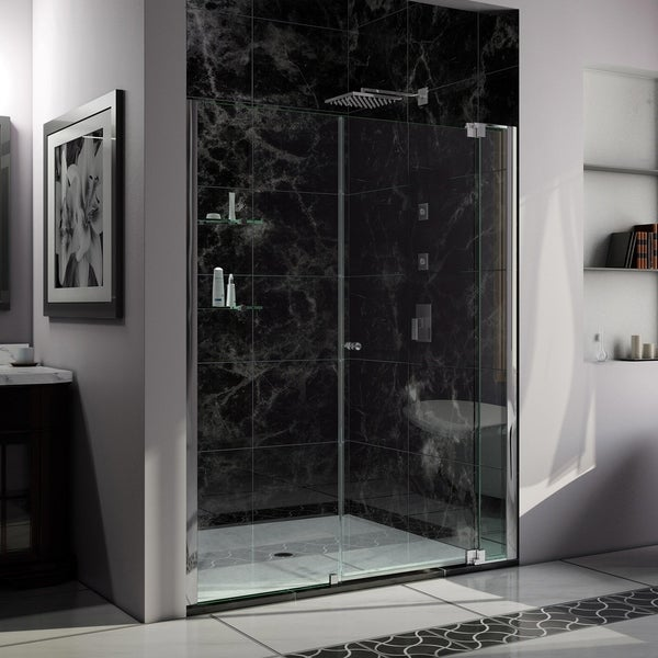 "DreamLine Allure 54-55 in. W x 73 in. H Frameless Pivot Shower Door - 54"" - 55"" W"