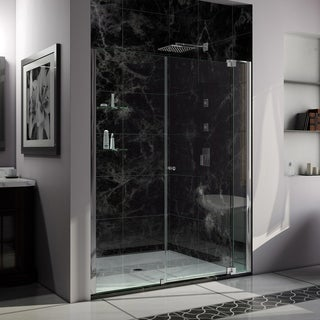 DreamLine Allure 54 to 55-inch wide x 73-inch high Frameless Pivot Clear Glass Shower Door in Chrome Finish