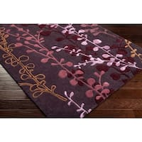 Hand-tufted Contemporary Lavish Plum Abstract Area Rug - 2'6 x 8'