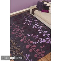 Hand-tufted Contemporary Lavish Plum Floral Area Rug (5' x 8')