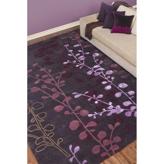 Hand-tufted Contemporary Lavish Plum Floral Area Rug