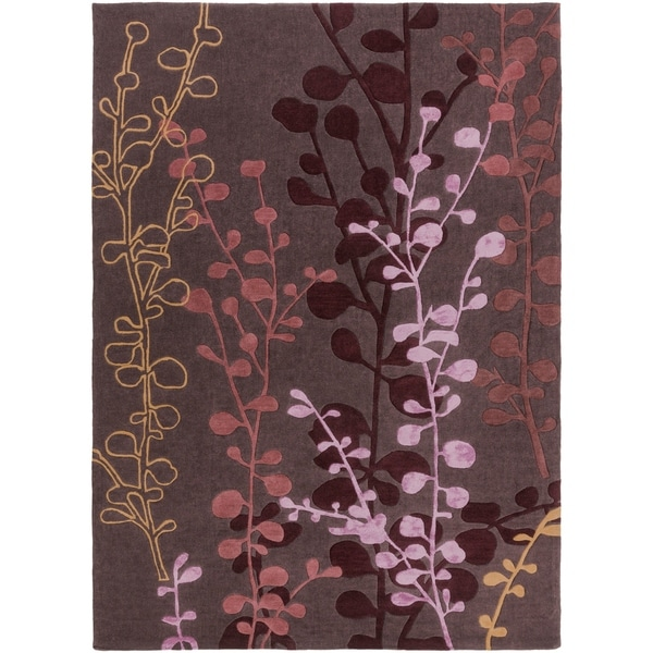 Hand-tufted Contemporary Lavish Plum Abstract Area Rug - 8' x 11'