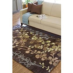 Hand-tufted Contemporary Lavish Brown Abstract Rug (2'6 x 8') - Thumbnail 1