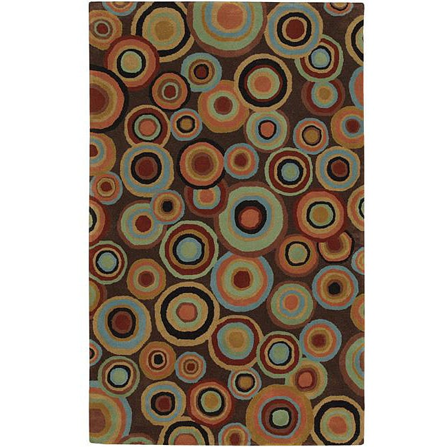 """Hand-Tufted Contemporary Multicolored Circles Geometric Dazed Plush New Zealand Wool Rug (3'3"""" x 5'3"""