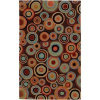 """Hand-Tufted Contemporary Multicolored Circles Geometric Dazed Plush New Zealand Wool Area Rug - 3'3"""" x 5'3"""""""