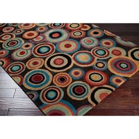 Hand-Tufted Contemporary Multicolored Circles Geometric Dazed New Zealand Wool Area Rug - 6'