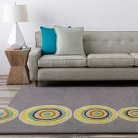 Hand-tufted Contemporary Multi Colored Circles Geometric Dazed New Zealand Wool Area Rug - 3' Round